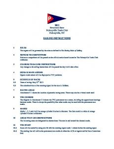 Bowersox Race - Sailing Instructions - Pultneyville Yacht Club