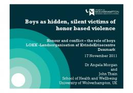 Boys as hidden, silent victims of honor based violence