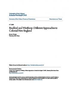 Bradford and Winthrop: Different Approaches to Colonial ...