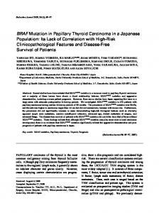 BRAF Mutation in Papillary Thyroid Carcinoma in a ... - J-Stage