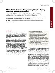 BRAF V600E Mutation Analysis Simplifies the Testing Algorithm for ...
