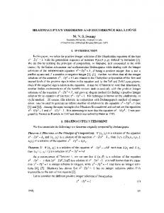 BRAHMAGUPTA'S THEOREMS AND RECURRENCE ... - CiteSeerX