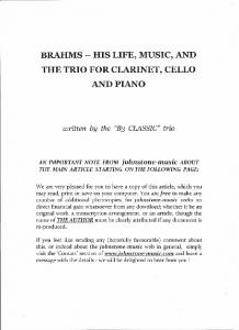 brahms - his life, music, and the trio for clarinet, cello and piano