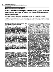 Brain Derived Neurotrophic Factor (BDNF) gene variants ... - Nature