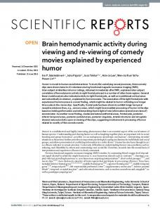 Brain hemodynamic activity during viewing and re-viewing of ... - Nature