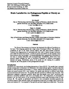 Brain Lactoferrin: An Endogenous Peptide or Merely an ... - CiteSeerX