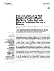 Branched-Chain Amino Acid Ingestion Stimulates Muscle ... - Frontiers
