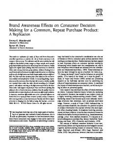 Brand Awareness Effects on Consumer Decision Making for a ...