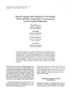 Brand Congruity and Comparative Advertising: When and Why ...