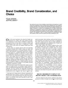 Brand Credibility, Brand Consideration, and Choice