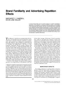 Brand Familiarity and Advertising Repetition Effects