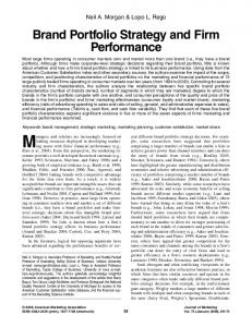 Brand Portfolio Strategy and Firm Performance