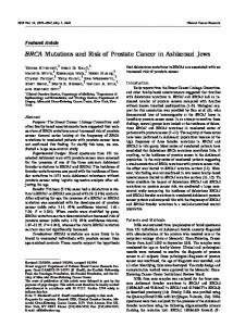 BRCA Mutations and Risk of Prostate Cancer in Ashkenazi Jews