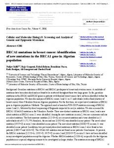 BRCA1 mutations in breast cancer: identification of