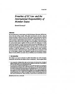 Breaches of EC Law and the International ... - SSRN papers