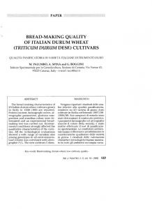 bread-making quality of italian durum wheat (triticum ...
