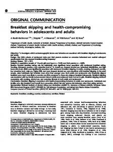 Breakfast skipping and health-compromising behaviors in adolescents ...