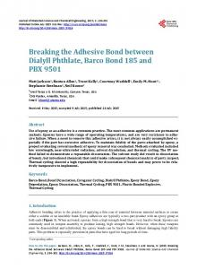 Breaking the Adhesive Bond between Dialyll Phthlate, Barco Bond ...