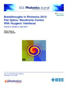 Breakthroughs in Photonics 2013: Flat Optics ... - IEEE Xplore