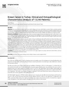 Breast Cancer in Turkey: Clinical and Histopathological ...