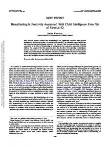 Breastfeeding Is Positively Associated With Child Intelligence ... - LSE