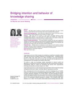Bridging intention and behavior of knowledge sharing - Institute for ...