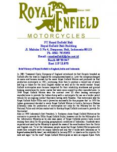 Brief History of Royal Enfield in England,India and Indonesia