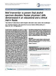 Brief intervention to prevent fetal alcohol spectrum ... - Springer Link