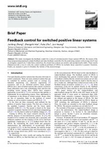 Brief Paper Feedback control for switched positive linear ... - IEEE Xplore