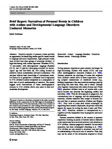 Brief Report: Narratives of Personal Events in Children with Autism ...