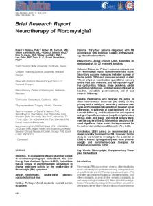 Brief Research Report Neurotherapy of Fibromyalgia? - BrainMaster