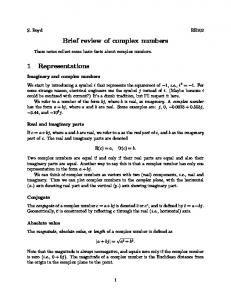 Brief review of complex numbers 1 Representations