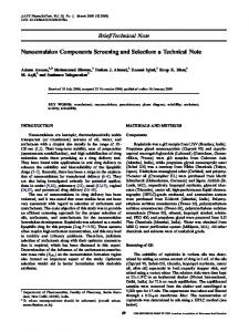 Brief/Technical Note Nanoemulsion Components Screening and ...