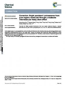 Bright persistent luminescence from pure organic