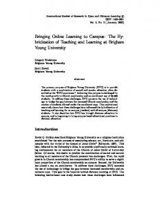 Bringing Online Learning to Campus: The ... - LearnTechLib
