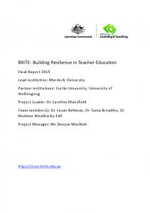 BRiTE: Building Resilience in Teacher Education