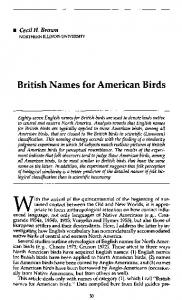 British Names for American Birds - Wiley Online Library