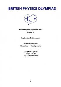 British Physics Olympiad Paper 1 2011 Question Paper