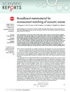 Broadband metamaterial for nonresonant matching of acoustic waves