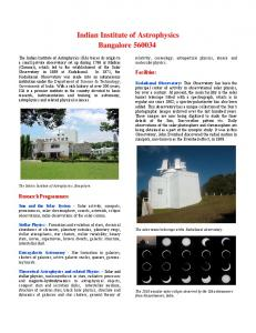 Brochure - Indian Institute of Astrophysics