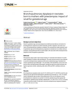 Bronchopulmonary dysplasia in neonates born to mothers with ... - Plos