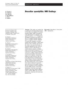 Brucellar spondylitis: MRI findings - Springer Link