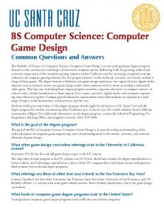 BS Computer Science: Computer Game Design
