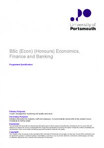 BSc (Econ)(Honours)Economics, Finance and Banking