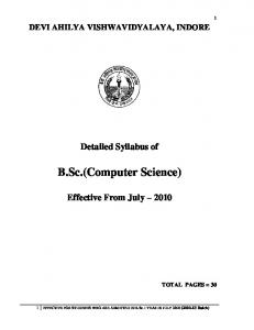 B.Sc.(Computer Science) :Effective for Students Admitted in July ...