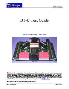 BT-U Test Guide