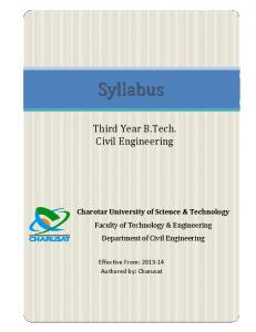 B Tech (Civil Engineering) - Final Year - Charusat