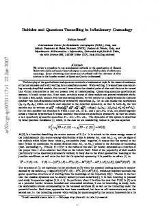 Bubbles and Quantum Tunnelling in Inflationary Cosmology