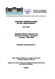 BUDAPEST WORKING PAPERS ON THE LABOUR MARKET