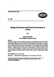 Budget Institutions and Fiscal Performance in Africa - The University ...